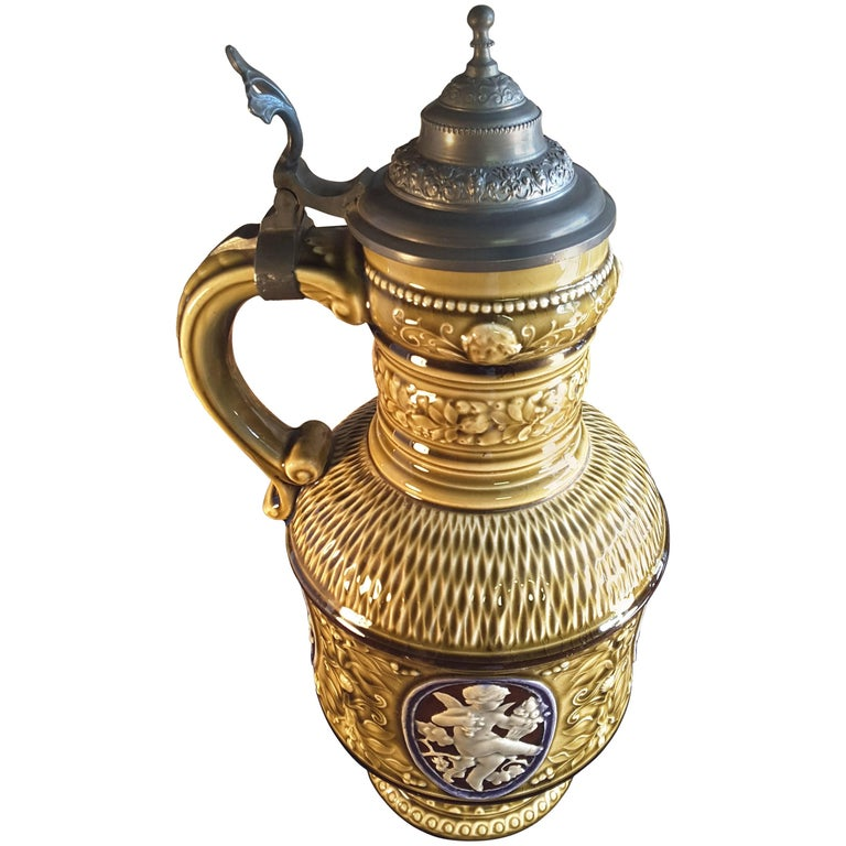 A Fine Majolica Pewter Mounted Renaissance Style Wine Jug, circa 1880 For Sale