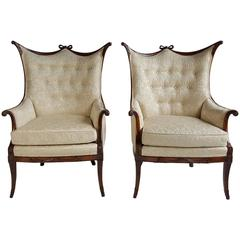 Pair of Elegant Hollywood Regency Grosfeld Button Tufted Armchairs