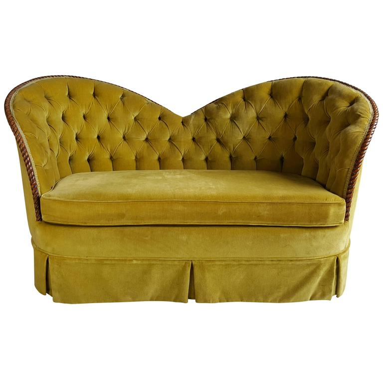 Stunning Regency Heart Shape Settee Sofa Or Loveseat Original Velvet For Sale
