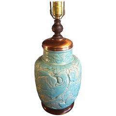 "A Rare Massive Turquoise Enamelled ""Zolo"" Stoneware Vase, Mounted as a Lamp 1926"