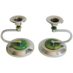Pair of English Art Deco Chrome Candlesticks with Black & Green Bakelite Accents
