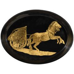Piero Fornasetti Black and Gold Neoclassical Metal Tray with Horse and Chariot