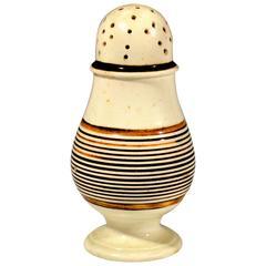 Mocha Creamware Pottery Slip-Decorated Pepper Pot, circa 1790-1810