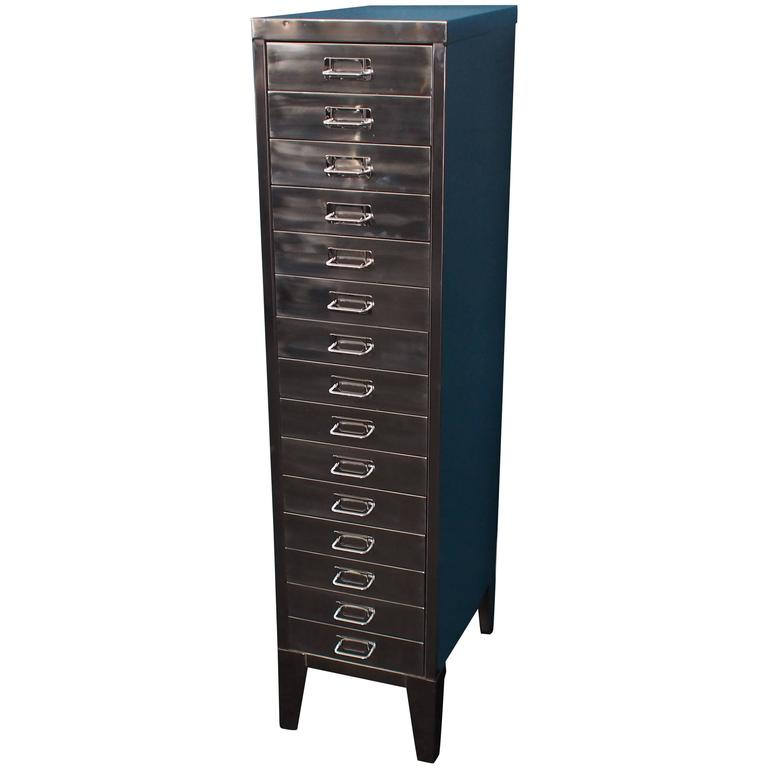 Tall English Polished Steel Filing Cabinet With Tapered