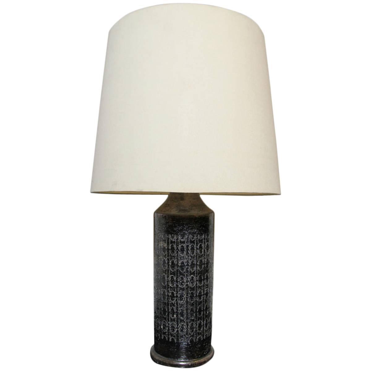 high end bronze glazed ceramic lamp by bitossi for bergboms sweden. Black Bedroom Furniture Sets. Home Design Ideas