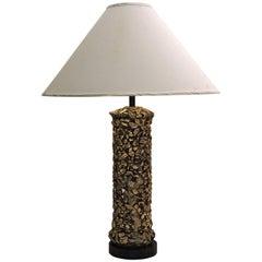 1960s Gilded Plaster Faux Rock Pebbles Lamp