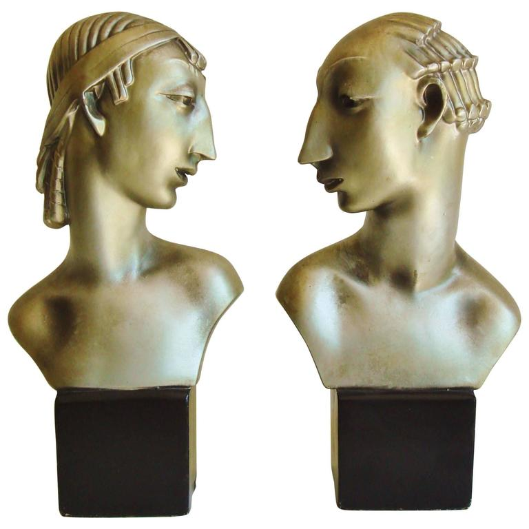 Pair of American Hollywood Regency Metallic Finished Plaster Male & Female Busts For Sale
