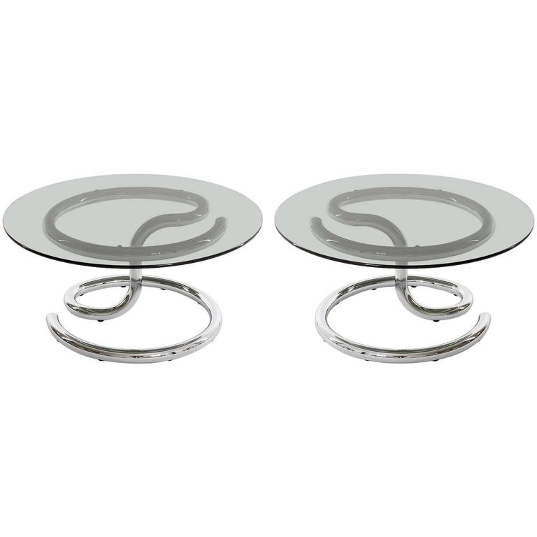 Pair of Anaconda Tables, Chrome Smoke Glass, 1970
