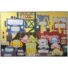 "Large Mid-Century Modern Acrylic Painting Titled ""Big Mac"" by Larry Donaldson"