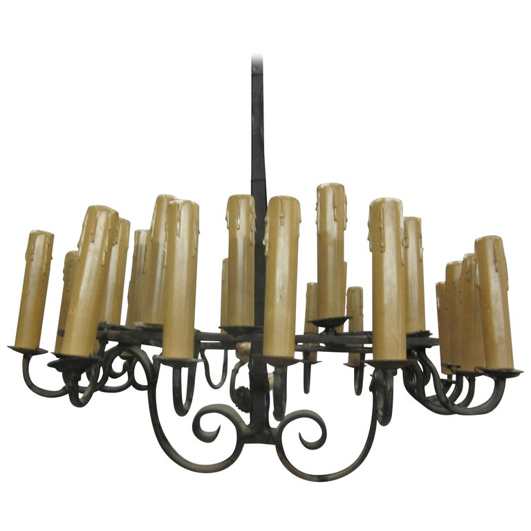 French Mid-Century Modern/ Brutalist Hand Wrought Iron Chandelier with 28 Lights For Sale