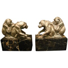 Art Deco silvered sculpture of  Group of Monkey's Bookends, France, circa 1925