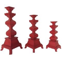 21st Century Set of Red Hand-Carved Wood Candleholders/Blandones