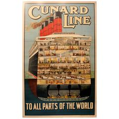 Original Vintage 1920s Cruise Ship Poster, Cunard Line to All Parts of the World