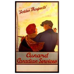 "Original 1930s Cruise Ship Poster ""Golden Prospects - Cunard Canadian Services"""