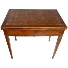 Antique French Marquetry Backgammon and Roulette Games Table