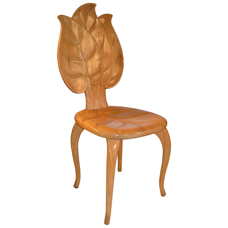 1970s Bartolozzi & Maioli Wooden Leaf Chair