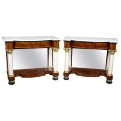 Pair of Mahogany and Marble Classical Pier Tables