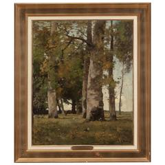Théophile De Bock a Figure in a Wooded Landscape