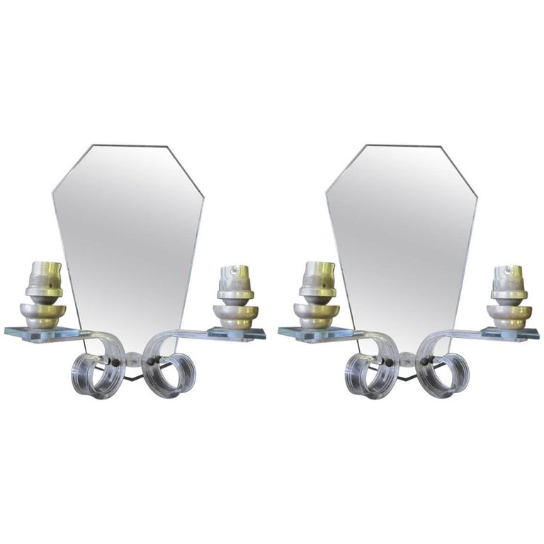 Pair of French Mid-Century Modern Mirrored Sconces Attributed to Maison Bagues 1