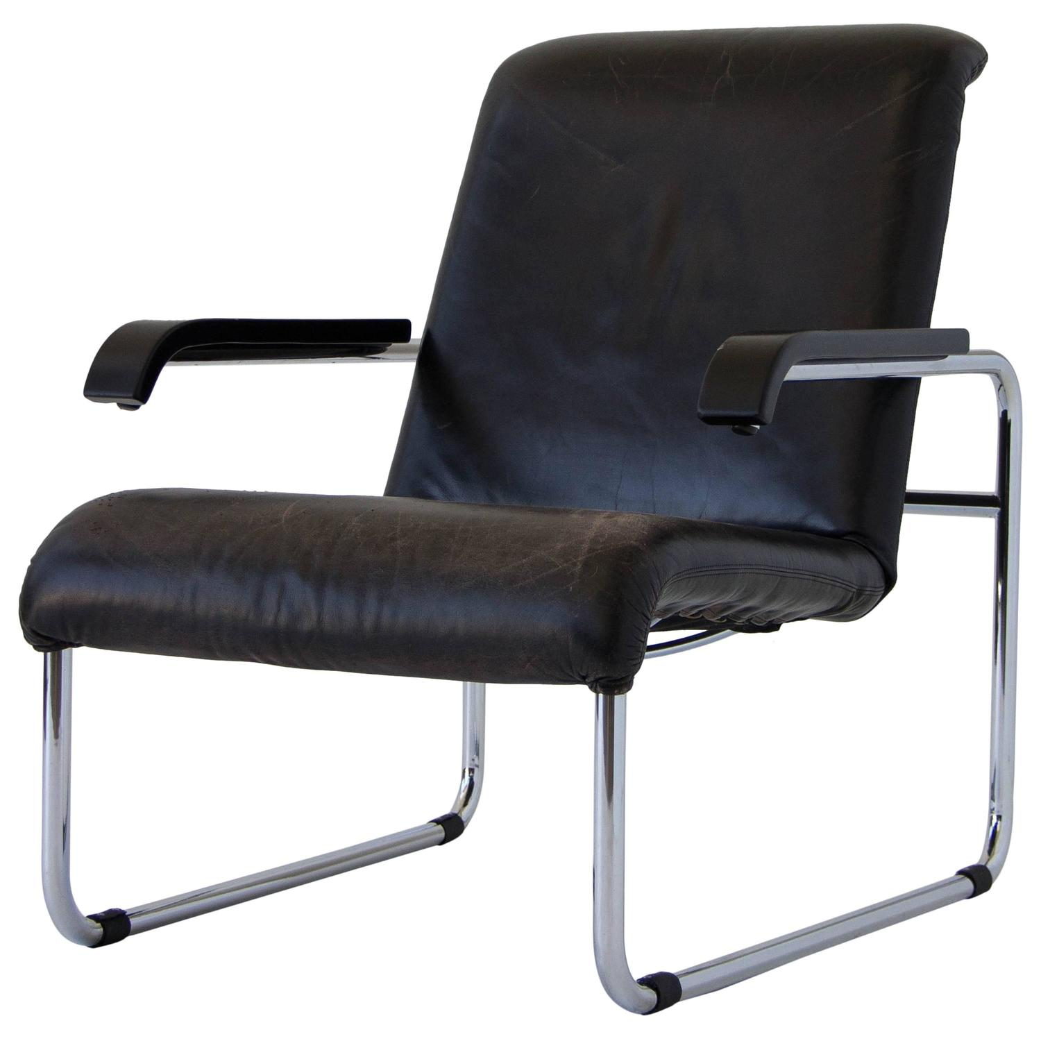 marcel breuer for thonet b35 leather lounge chair at 1stdibs. Black Bedroom Furniture Sets. Home Design Ideas
