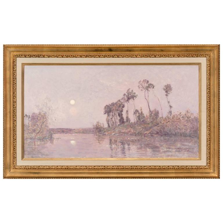Hippolyte-Camille Delpy, French, Sunset River Landscape For Sale