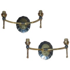 Pair of French Mid-Century Modern Neoclassical Double Arm Wall Sconces