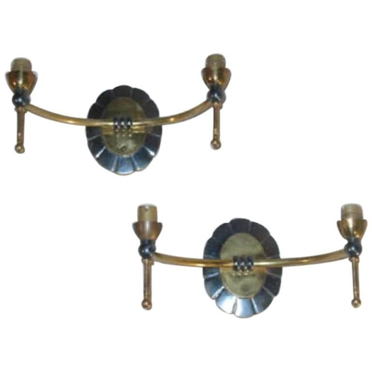 Pair of French Mid-Century Modern Neoclassical Double Arm Wall Sconces 1