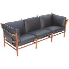Black Leather Safari Sofa by Arne Norell