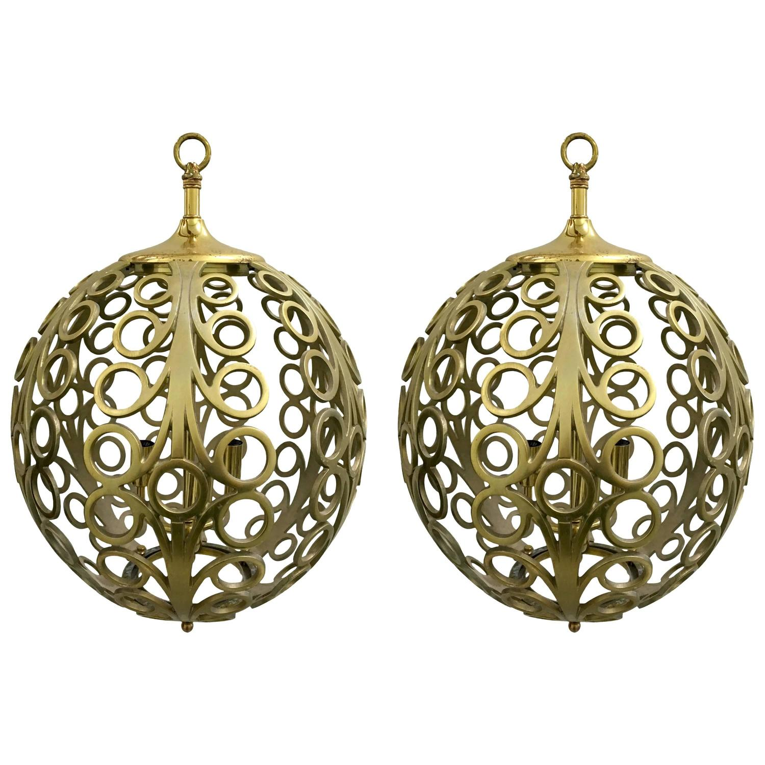 Pair of Pierced Brass Geometric Pendant Lights For Sale at ...