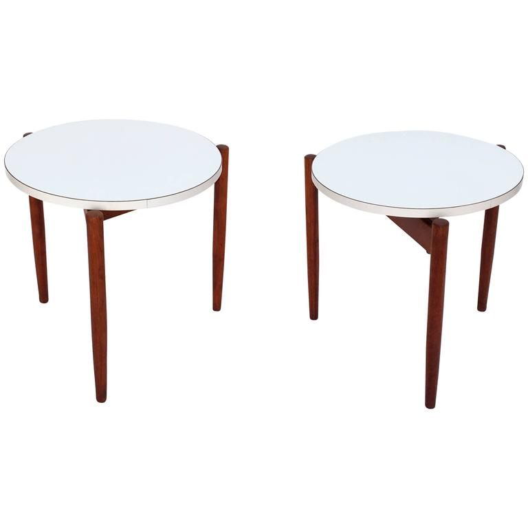 Pair Of Walnut Stacking Side Tables By Jens Risom For