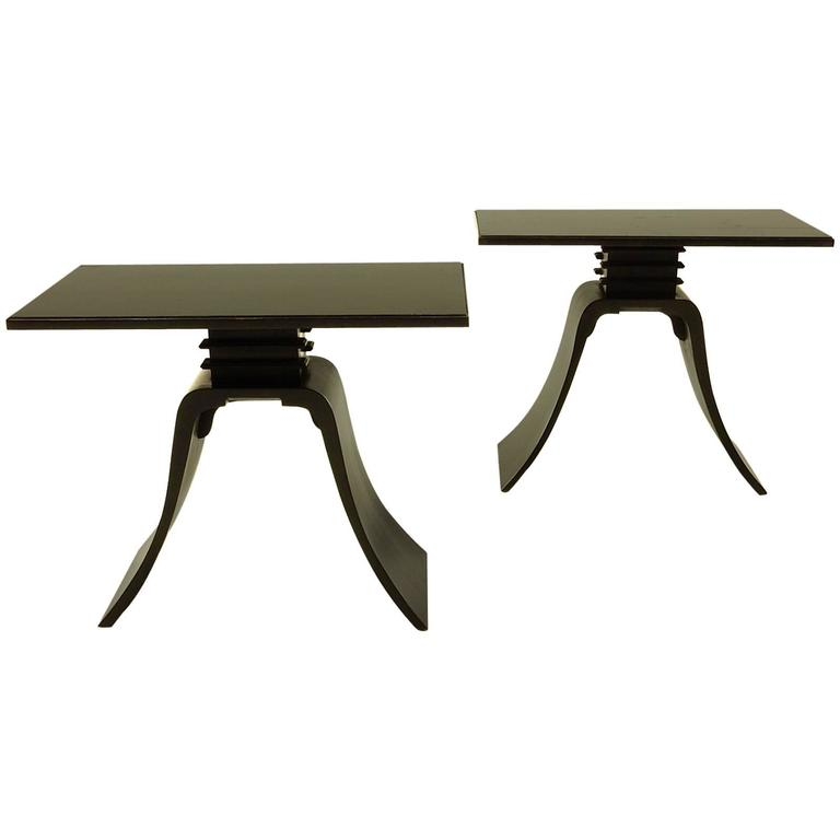 "Pair of Art Deco Paul Frankl Design Ebonized ""Bell"" Side Tables"