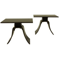 "Pair of Art Deco Paul Frankl Design Ebonized ""Bell"" Side Tables"