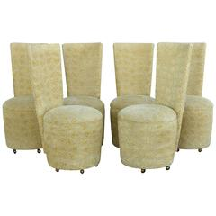 Custom-Made Upholstered Dining Chairs on Casters, Set of Six