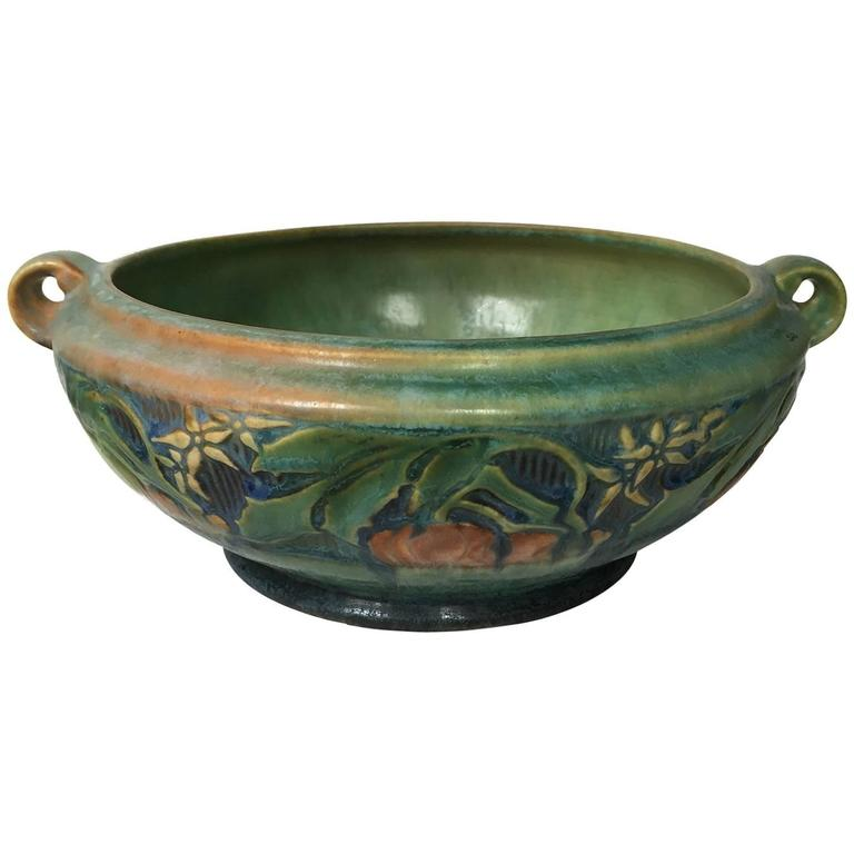 American Arts and Crafts Roseville Green Pottery Baneda