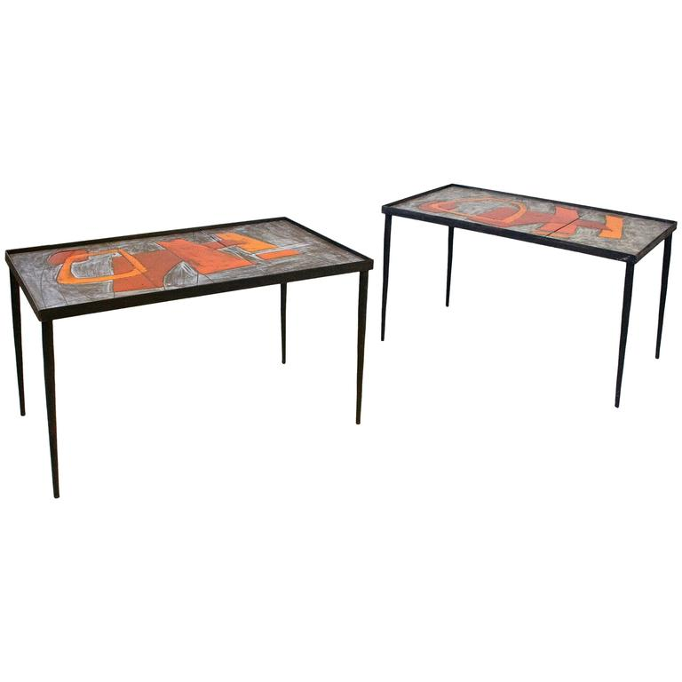 Pair of Robert and Jean Cloutier Ceramic Coffee Tables, circa 1960, France
