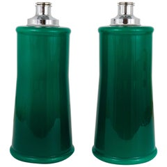 Pair of Large Green Murano Glass Side Lamps, Italy, 1960s