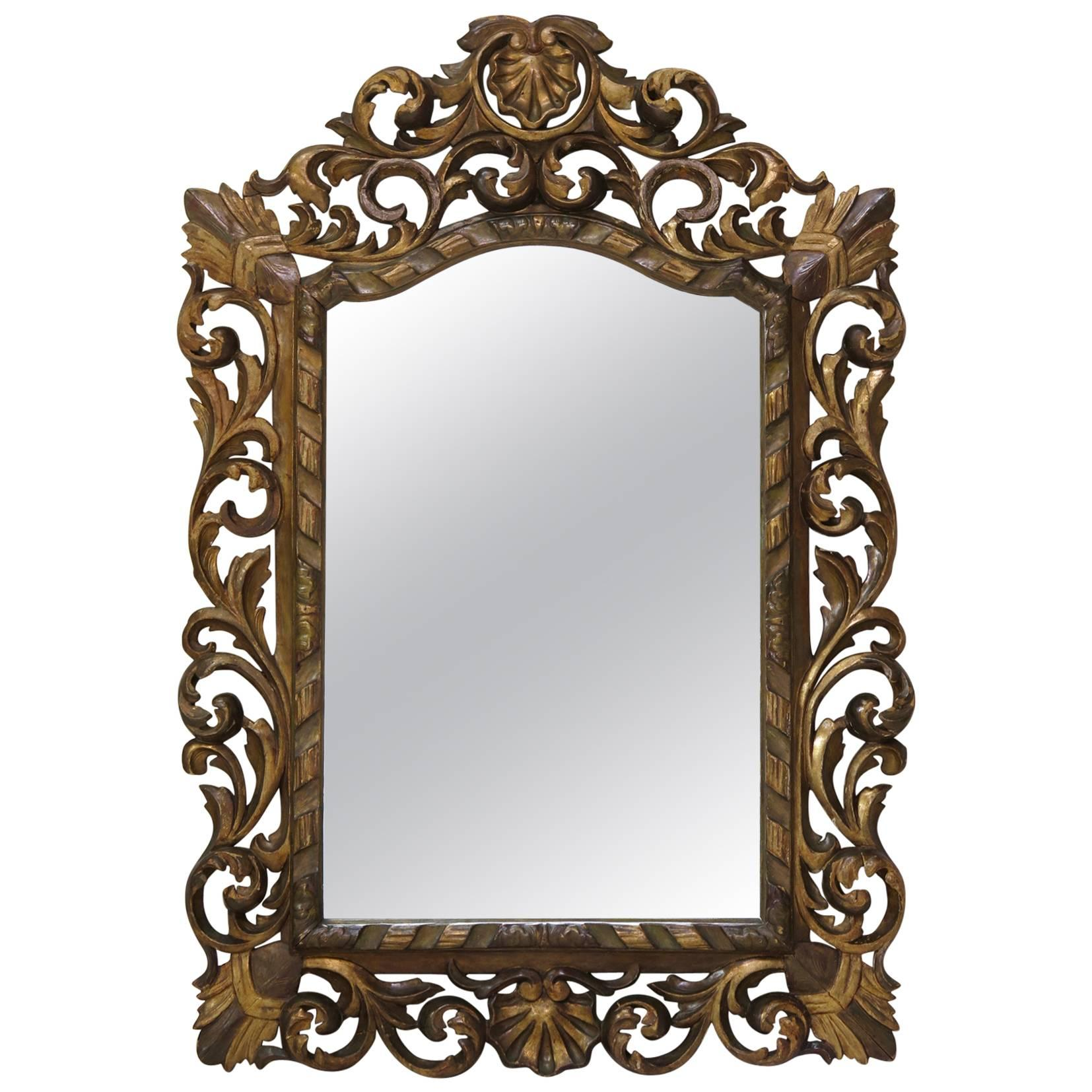 Large Baroque Sculpted Mirror, France, 19th Century