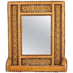 """Unusual Wicker Rectangular Shelf Mirror in the """"Emmanuelle"""" Chair Manner"""