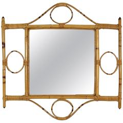 Unusual 1960s French Riviera Hand-crafted Bamboo Decorative Wall Mirror