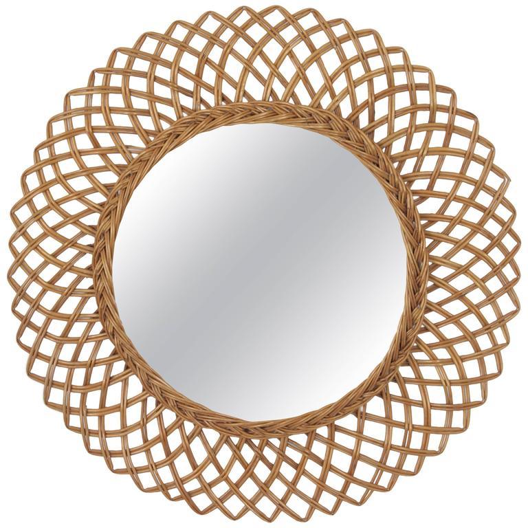 1960s Spanish Handwoven Rattan Circular Mirror 1