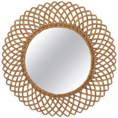 1960s Spanish Handwoven Rattan Circular Mirror