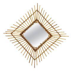 Spanish 1960s Rattan Rhombus Sunburst Mirror