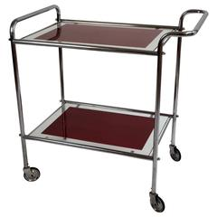20th Century Art Deco Steel Tube Bar Cart Trolley