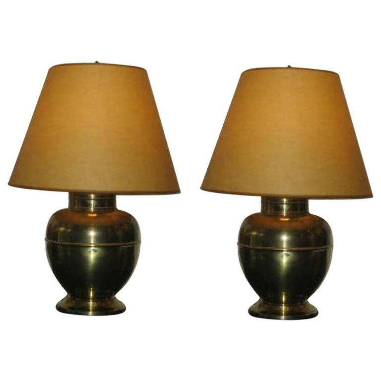 Pair of British Mid-Century Modern Brass Baluster Table Lamps For Sale