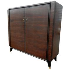 Leleu Style Art Deco Low rosewood  and Gilt Brass Armoire