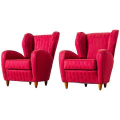 Pair of Italian Red Wingback Lounge Chairs
