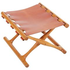 "Poul Hundevad ""Gold Hill"" Folding Stool in Oak and Cognac Leather"