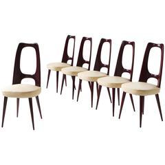 Set of Six Italian Dining Chairs in Mahogany