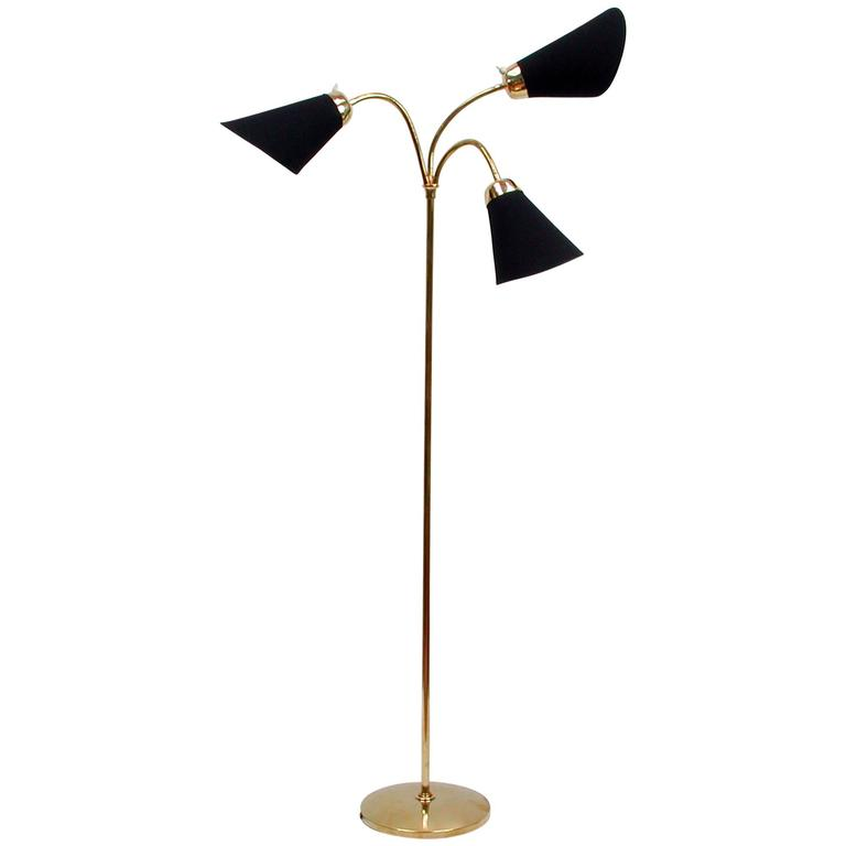 Mid Century Italian Triple Gooseneck Floor Lamp 1950s For