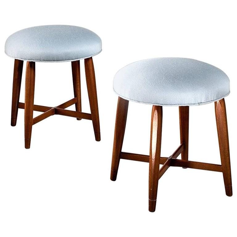 Pair of Swedish Stools with Cross-Frame and Blue Wool Upholstery, 1940s